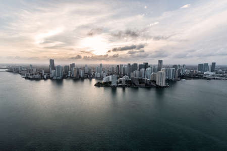 miami sunset: Air shot of buildings in the Miami coast Stock Photo