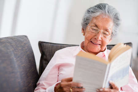 old sofa: Elder woman reading a book at home and smiling Stock Photo