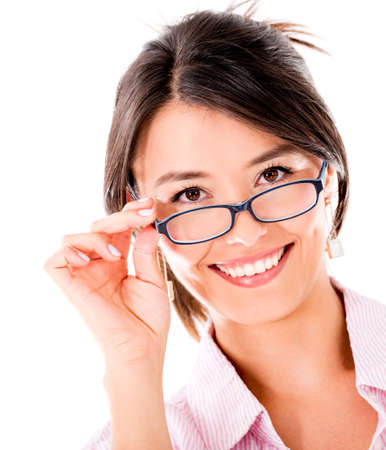 Happy woman wearing glasses - isolated over a white background photo