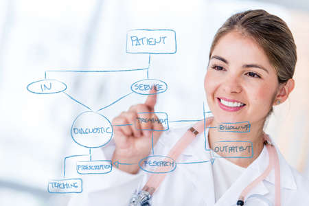 workflow: Female doctor drawing a graph on hospitals workflow Stock Photo