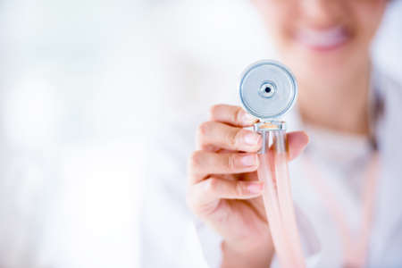 medical physician: Close up on a stethoscope - medical concepts Stock Photo