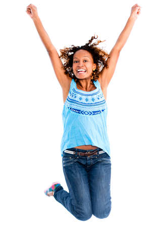 american content: Happy woman jumping  with arms up - isolated over a white background