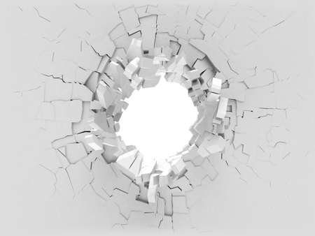 smashed: 3D broken wall with a hole in the middle