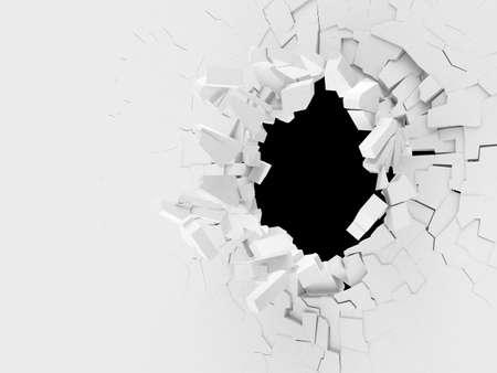 muro rotto: 3D parete rotta con un buco in mezzo