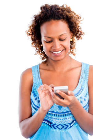 mobile sms: Woman using app on a smart phone - isolated over white background