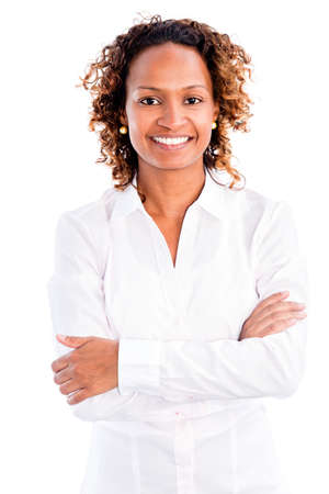 African American business woman smiling - isolated over a white background photo