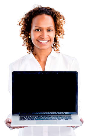happy african: African American business woman with a laptop - isolated over white background Stock Photo