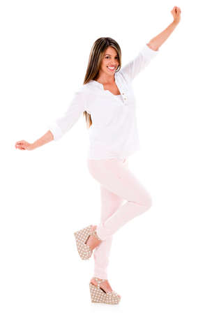 Excited summer woman with arms up - isolated over white Stock Photo - 20105553