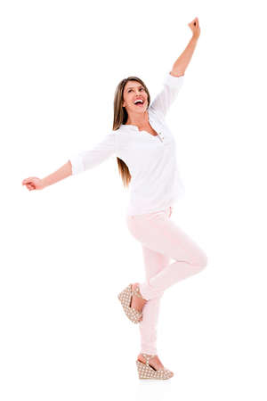 Happy woman with arms up - isolated over a white background Stock Photo - 20105555
