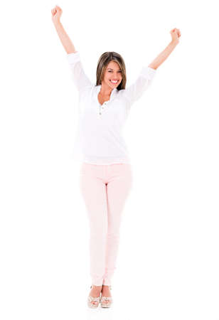 Successful woman with arms up looking happy - isolated over white Stock Photo - 20096707