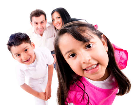 seek: Family playing hide and seek - isolated over a white background Stock Photo