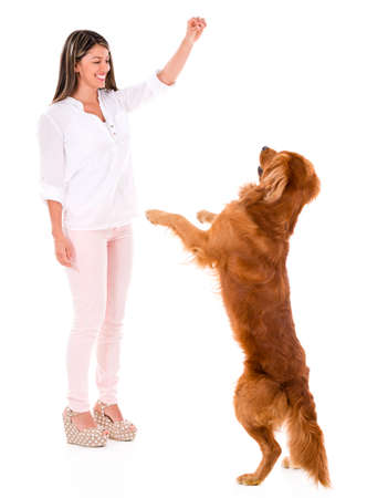 Happy woman playing with a dog - isolated over a white background photo