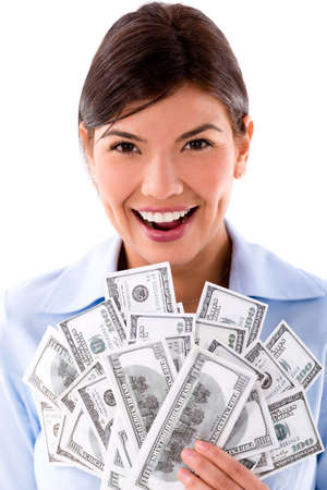 Rich business woman holding dollar bills - isolated over white Stock Photo - 20472873