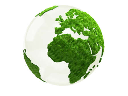 3D World map in grass - isolated over a white background photo