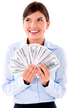 Thoughtful business woman thinking how to spend money - isolated over white Stock Photo - 20472788