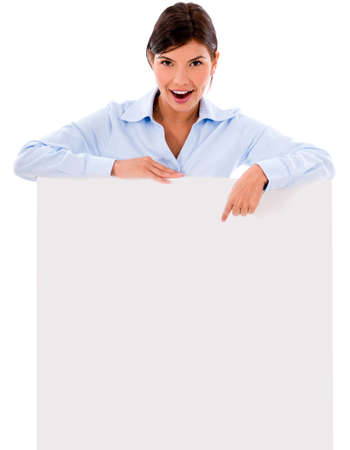 Business woman pointing on a banner - isolated over white background  Stock Photo - 20600542