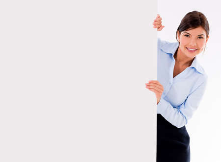 Business woman with a banner ad - isolated over a white background  Stock Photo - 20617949