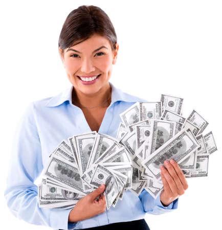 millonario: Mujer de negocios millonario con billetes de d�lar - aislado m�s de blanco Foto de archivo