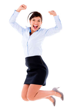 Happy business woman jumping - isolated over a white background  photo