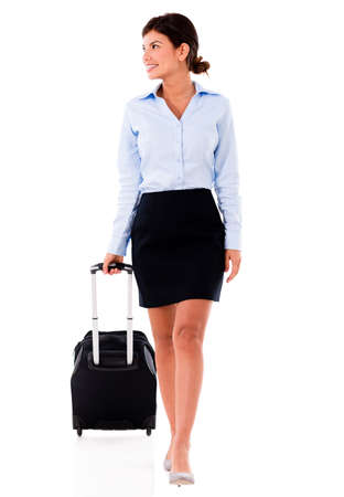 Successful woman on a business trip - isolated over white  Stock Photo - 20617908