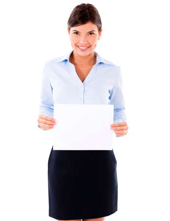 Happy business woman with a banner - isolated over white  Stock Photo - 20617954
