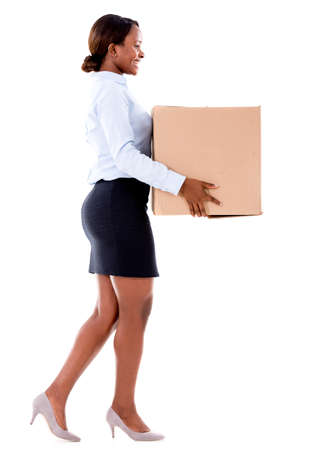 parcels: Business woman carrying a cardboard box - isolated over white