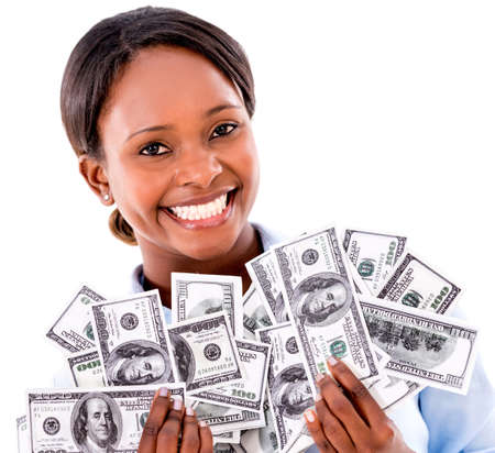 american currency: Rich business woman holding dollar bills - isolated over white