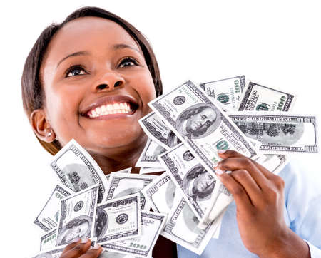 excited people: Successful business woman holding dollar bills - isolated over white  Stock Photo