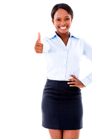 Business woman with thumbs up - isolated over white background photo