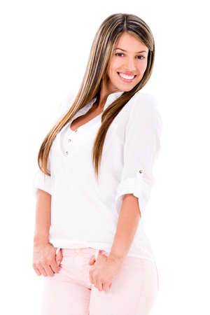 Casual woman smiling and having fun - isolated over white  photo
