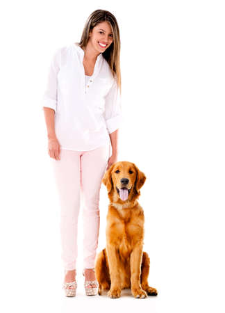 Woman with a cute dog - isolated over a white background  photo