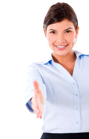 Business woman with hand extended handshaking - isolated over white  photo