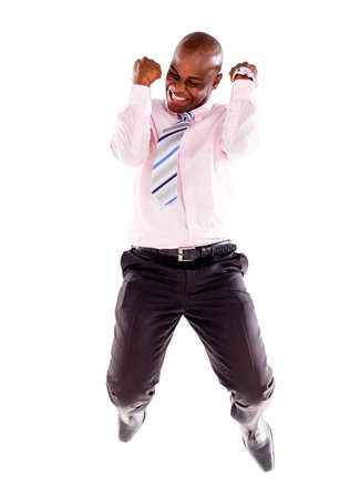excited man: Successful business man jumping - isolated over a white background Stock Photo