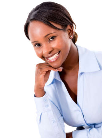 Successful business woman smiling - isolated over white photo