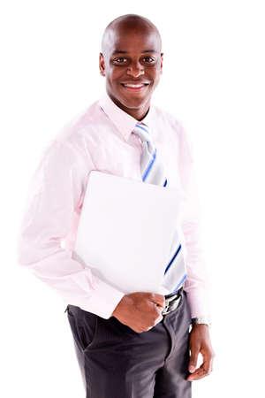 beau jeune homme: Homme d'affaires avec un ordinateur portable - isol� sur un fond blanc Banque d'images