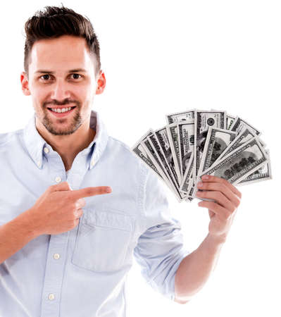 Rich woman pointing a bunch of dollar bills - isolated over white Stock Photo - 20660931