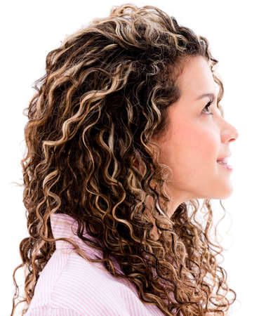 Casual woman profile looking up - isolated over a white background  Stock Photo - 20679180