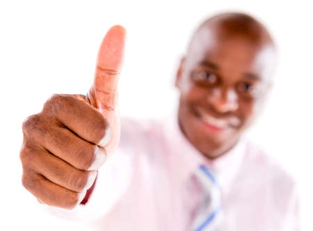 man thumbs up: Business man with thumbs up - isolated over white background