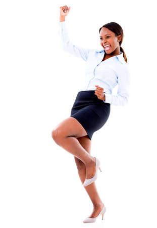 personas celebrando: Exitosa mujer de negocios la celebraci�n de un logro - aislado sobre fondo blanco