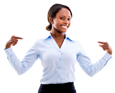 Confident business woman pointing at herself - isolated over white photo