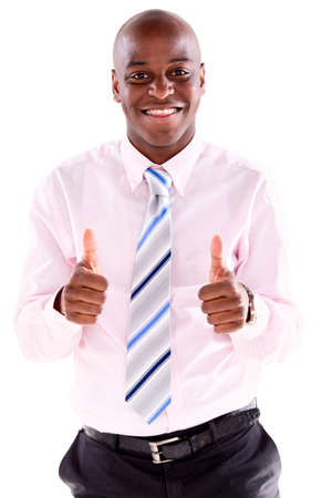 Very happy business man with thumbs up - isolated over white background Stock Photo - 20707183