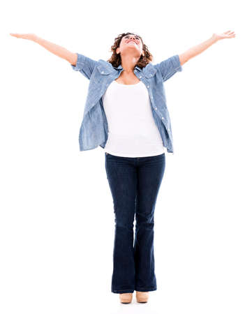 Happy woman with arms open - isolated over a white background Stock Photo - 20786069