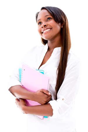 scholars: Estudiante femenino pensativo mirando hacia arriba - aislados en un fondo blanco Foto de archivo