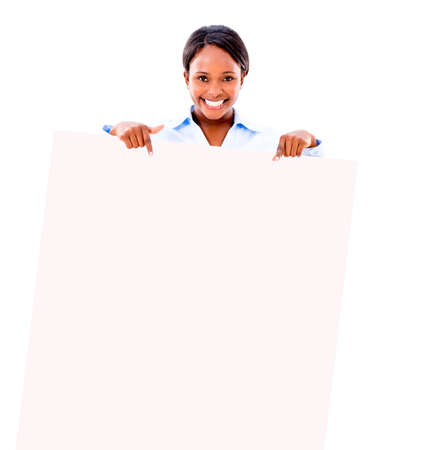Business woman pointing at a banner - isolated over white background photo