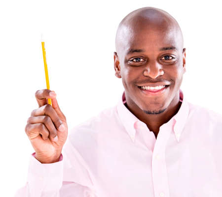 Business man pointing an idea with a pen - isolated over white photo