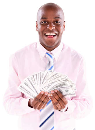 Successful business man with money in his hands - isolated over white Stock Photo - 20786099