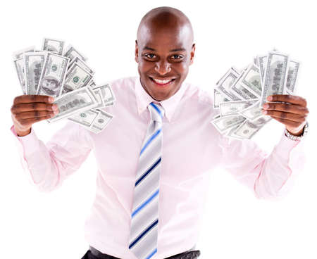 Rich business man with a bunch of dollars - isolated over a white background Stock Photo - 20786101