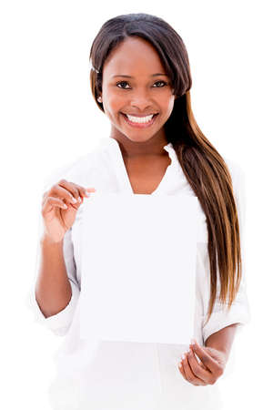 Happy woman holding a small banner - isolated over white Stock Photo - 20937178