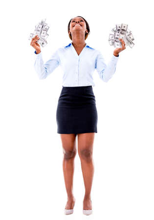 donna entusiasta: Eccitato donna d'affari con i soldi - isolato su uno sfondo bianco Archivio Fotografico