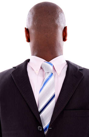 Anonymous business man faceless – isolated over a white background photo